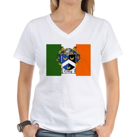 Craig Arms Irish Flag Women's V-Neck T-Shirt