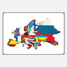 Flags map of Europe Banner