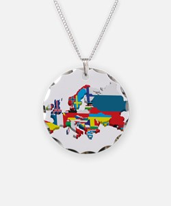 Flags map of Europe Necklace