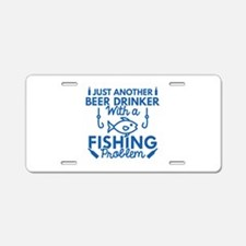 Beer Drinker Fishing Aluminum License Plate