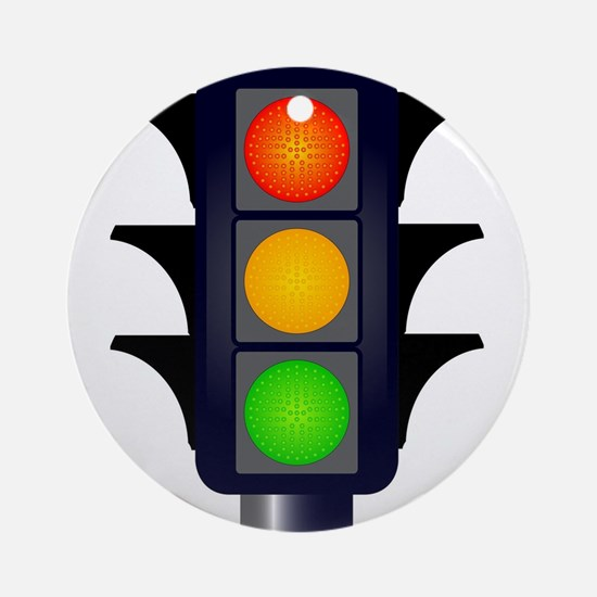Hooded Traffic Lights Round Ornament