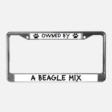 Owned by a Beagle Mix License Plate Frame