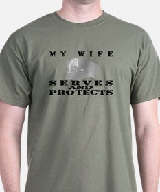 Serves & Protects Hat - Wife T-Shirt