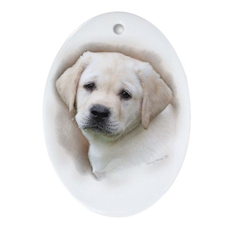 Lab Pup Color Oval Ornament
