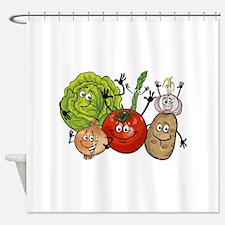 Funny cartoon vegetables Shower Curtain