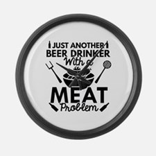 Beer Drinker Meat Large Wall Clock