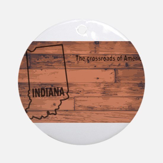 Indiana Map Brand Round Ornament
