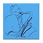 Blues Sax Player Tile Coaster