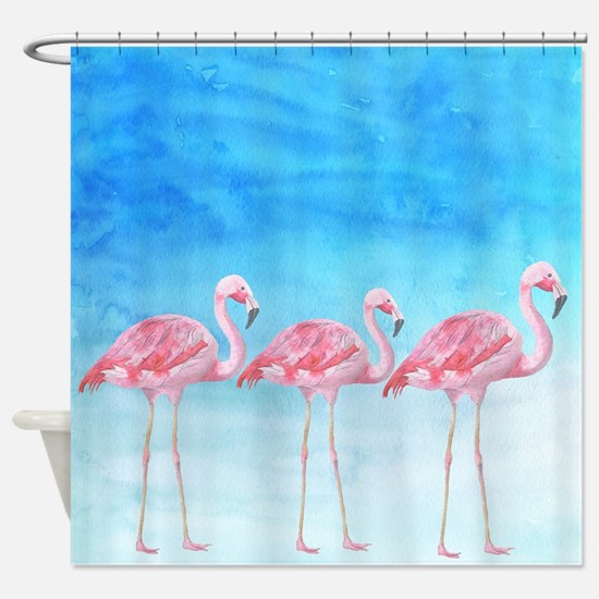 Flamingo lagune- watercolor artwork Shower Curtain