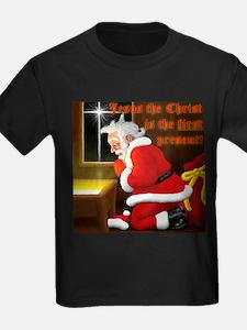 'Santa knelt' on a T-Shirt { Ash Grey} T-Shirt