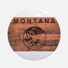 Montana Flag Brand Round Ornament