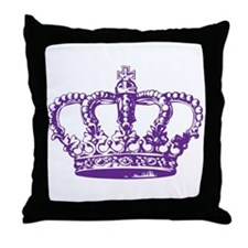 Purple Crown Throw Pillow