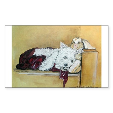 Westie and Bunny Rectangle Sticker