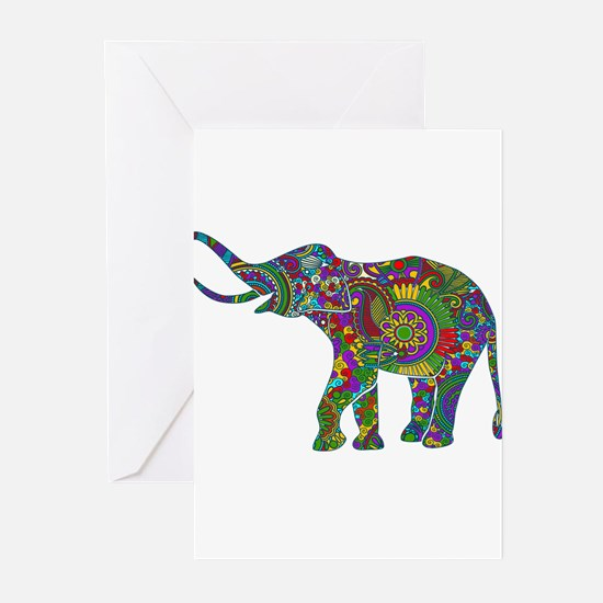 Cute Retro Colorful Floral Elephant Greeting Cards
