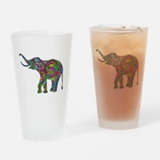 Cute Retro Colorful Floral Elephant Drinking Glass