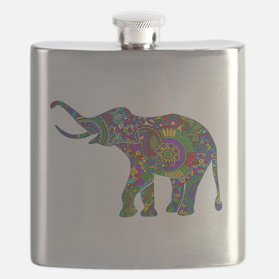 Cute Retro Colorful Floral Elephant Flask