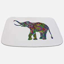 Cute Retro Colorful Floral Elephant Bathmat
