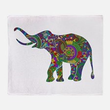 Cute Retro Colorful Floral Elephant Throw Blanket