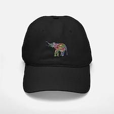 Cute Retro Colorful Floral Elephant Baseball Hat