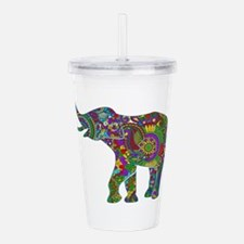 Cute Retro Colorful Fl Acrylic Double-wall Tumbler