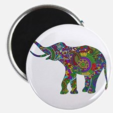 Cute Retro Colorful Floral Elephant Magnets
