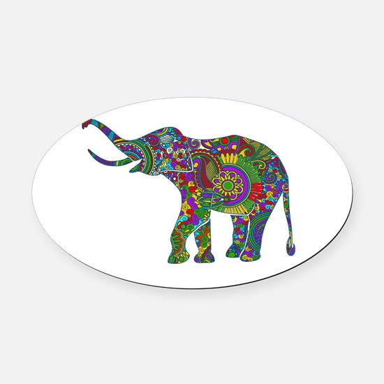 Cute Retro Colorful Floral Elephan Oval Car Magnet