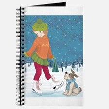 Winter little ice skating girl and cute do Journal