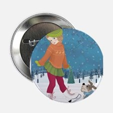 """Winter little ice skating girl and cu 2.25"""" Button"""