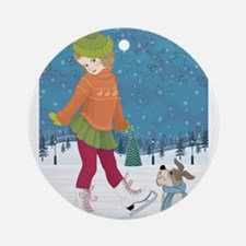 Winter little ice skating girl and Round Ornament