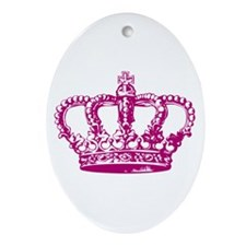 Pink Crown Oval Ornament