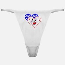 Patriotic Hearts & Dog Classic Thong