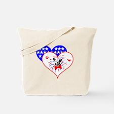 Patriotic Hearts & Dog Tote Bag
