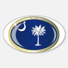 South Carolina State Flag Oval Button Decal