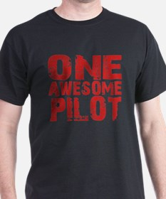 One Awesome Pilot Black T-Shirt