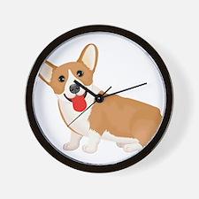 Pembroke welsh corgi dog showing tongue Wall Clock