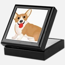 Pembroke welsh corgi dog showing tong Keepsake Box