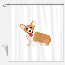Pembroke welsh corgi dog showing to Shower Curtain
