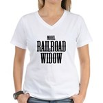 Model Railroad Widow Women' Women's V-Neck T-Shirt