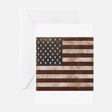 Vintage American Flag King Duvet 1 Greeting Cards
