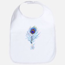 Peacock feather watercolor Bib