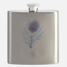 Peacock feather watercolor Flask