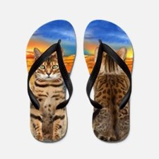 Bengal Cat on the Beach Flip Flops