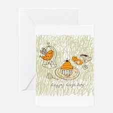 Hand drawn cartoon pattern line art Greeting Cards