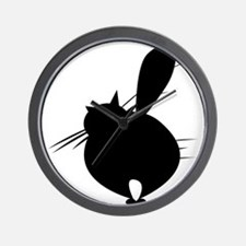 Black cat posing backside Wall Clock