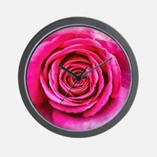 Hot Pink Rose Closeup Wall Clock
