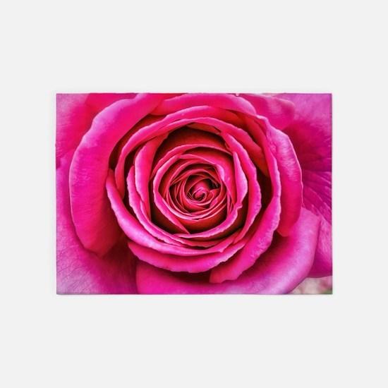 Hot Pink Rose Closeup 5'x7'Area Rug