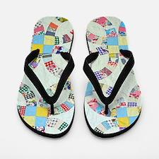 Colorful patchwork quilt Flip Flops
