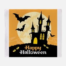 Hunted castle under moon happy hallo Throw Blanket