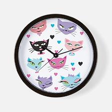 Cute cartoon cats card Wall Clock
