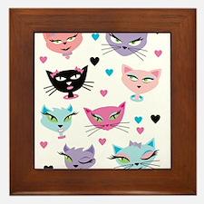 Cute cartoon cats card Framed Tile